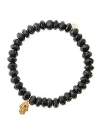 Sydney Evan - Black Spinel Rondelle Beaded Bracelet With 14K Gold Hamsa Charm (Made To Order) - Lyst