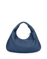 Bottega Veneta - Blue Veneta Intrecciato Large Hobo Bag - Lyst