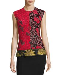 Derek Lam - Multicolor Sleeveless Patchwork Floral Jacquard Top - Lyst