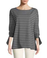 Lafayette 148 New York - Gray Catriona Mulberry Stripe Top - Lyst