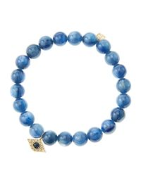 Sydney Evan | Blue 8mm Kyanite Beaded Bracelet With 14k Yellow Gold/diamond Small Evil Eye Charm (made To Order) | Lyst