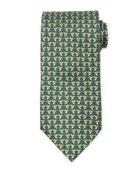Ferragamo Green Hummingbird-print Silk Tie for men