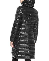 Moncler | Black Moka Shiny Fitted Puffer Coat With Hood | Lyst