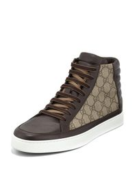 Gucci | Brown Gg Supreme Canvas High-top Sneaker for Men | Lyst