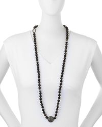 Nest | Long Faceted Black Line Agate Necklace | Lyst