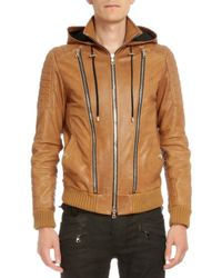 Balmain | Brown Hooded Leather Three-zip Jacket for Men | Lyst