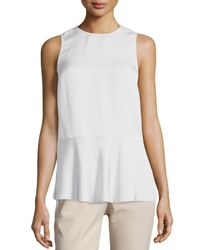 Theory | White Nicella Modern Georgette Solid Top | Lyst
