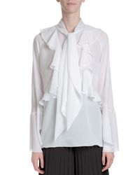 Givenchy - White Ruffle-front Neck-tie Blouse - Lyst