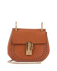 Chloé | Brown Drew Mini Perforated Leather Saddle Crossbody Bag | Lyst