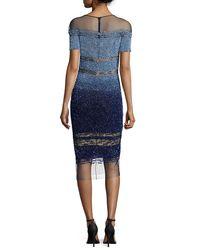 Pamella Roland - Blue Short-sleeve Signature Ombre Sequin Dress - Lyst