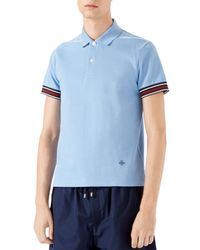 Gucci | Blue Cotton Piquet Polo Shirt With Web Detail for Men | Lyst