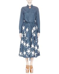 Dries Van Noten | Blue Low V Dress | Lyst