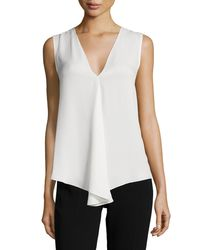 Theory Black Meighlan Silk V-neck Blouse