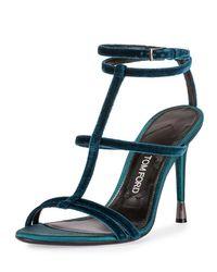 Tom Ford | Blue Caged Velvet Sandals | Lyst