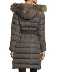 Moncler - Black Khloe Quilted Puffer Coat W/ Fur Hood - Lyst
