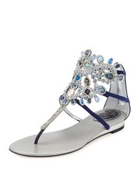 Rene Caovilla | Blue Crystal-chandelier Flat Thong Sandal | Lyst