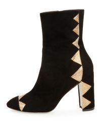 Rene Caovilla - Black Crystal-Embellished Satin Ankle Boots - Lyst