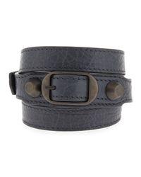 Balenciaga | Black Classic Leather Wrap Bracelet | Lyst