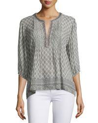Joie - Gray Vik Printed Crinkle Silk Top - Lyst