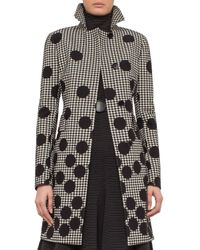 Akris Punto | Black Dotted Houndstooth A-line Coat | Lyst