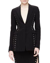 Altuzarra Black Merrie Lace-up Sided Long Blazer