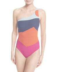 Tory Burch | Multicolor Marguerite Colorblock One-shoulder Swimsuit | Lyst