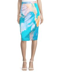 MILLY | Multicolor Watercolor-print Midi Skirt | Lyst