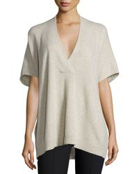 VINCE   Gray Oversized V-neck Short-sleeve Sweater   Lyst