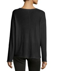 Vince - Black Long-sleeve Cotton Tee - Lyst