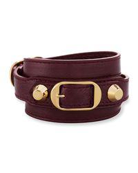 Balenciaga - Multicolor Classic Leather Wrap Bracelet - Lyst