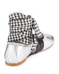 Miu Miu - Multicolor Metallic Belted Ankle-wrap Ballerina Flat - Lyst