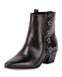 Saint Laurent - Black Rock Star Leather Ankle Boots - Lyst
