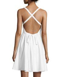 Halston White Sleeveless Crisscross-tie Dress