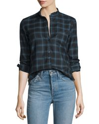 Helmut Lang | Blue Shrunken Plaid Pullover Shirt | Lyst