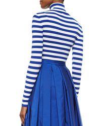 Michael Kors Blue Striped Ribbed Turtleneck Sweater