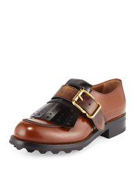 Prada - Brown Kiltie Fringe Single-monk Oxford Shoe for Men - Lyst