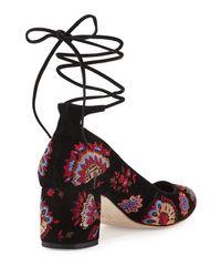 Loeffler Randall Multicolor Clara Embroidered Suede Ankle-tie Pump