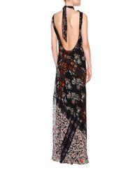 Etro - Black Floral Plaid Tie-neck Scoop-back Gown - Lyst