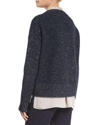 Vince - Blue Knit Drop-shoulder Pullover Sweater - Lyst