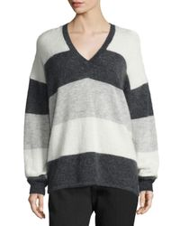 Vince | Gray Striped Mohair-blend V-neck Sweater | Lyst