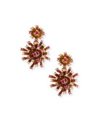 Oscar de la Renta | Multicolor Crystal Firework Drop Earrings | Lyst