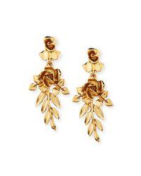 Oscar de la Renta   Metallic Rose And Leaf Vine Drop Earrings   Lyst