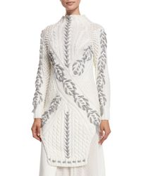 Prabal Gurung | White Long Two-tone Cable-knit Sweater | Lyst
