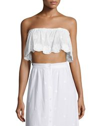 Miguelina | White Callie Floral-embroidered Bandeau Top | Lyst