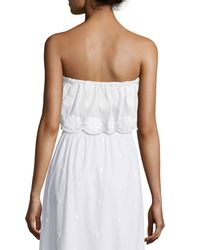 Miguelina - White Callie Floral-embroidered Bandeau Top - Lyst