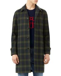 Gucci | Black Plaid Rabbit-embroidered Topcoat for Men | Lyst