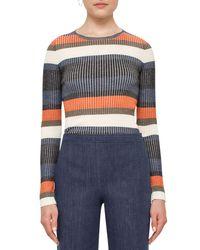 Akris Punto | Blue Stripe Ribbed Wool Sweater | Lyst