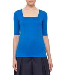 Akris Punto | Blue Stretch-cotton Square-neck Top | Lyst