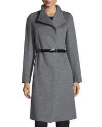 Cinzia Rocca   Gray A-line Wool Coat   Lyst