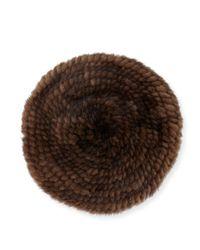 Belle Fare - Brown Structured Mink Fur Beret Hat - Lyst